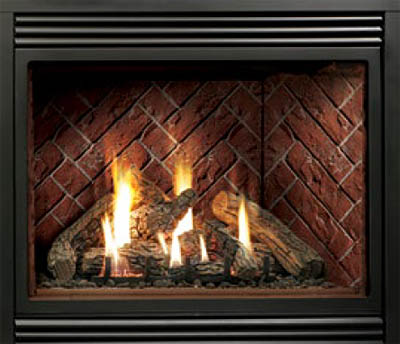 HBZDV4740N Zero Clearance Direct Vent Fireplace – Natural Gas, with LOGC60 Log Set, HB47GBL Grill Kit – Black, and Optional HB47RRH Red Herringbone Refractory Liner.