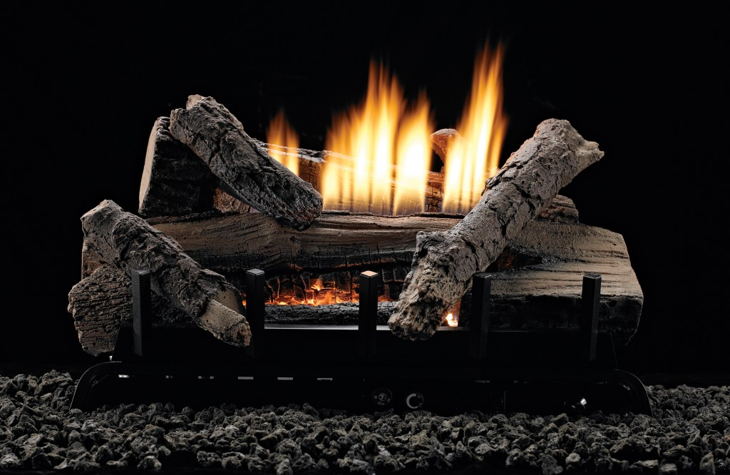 Refractory Whisky River Log Set And Vent Free Burner Combination